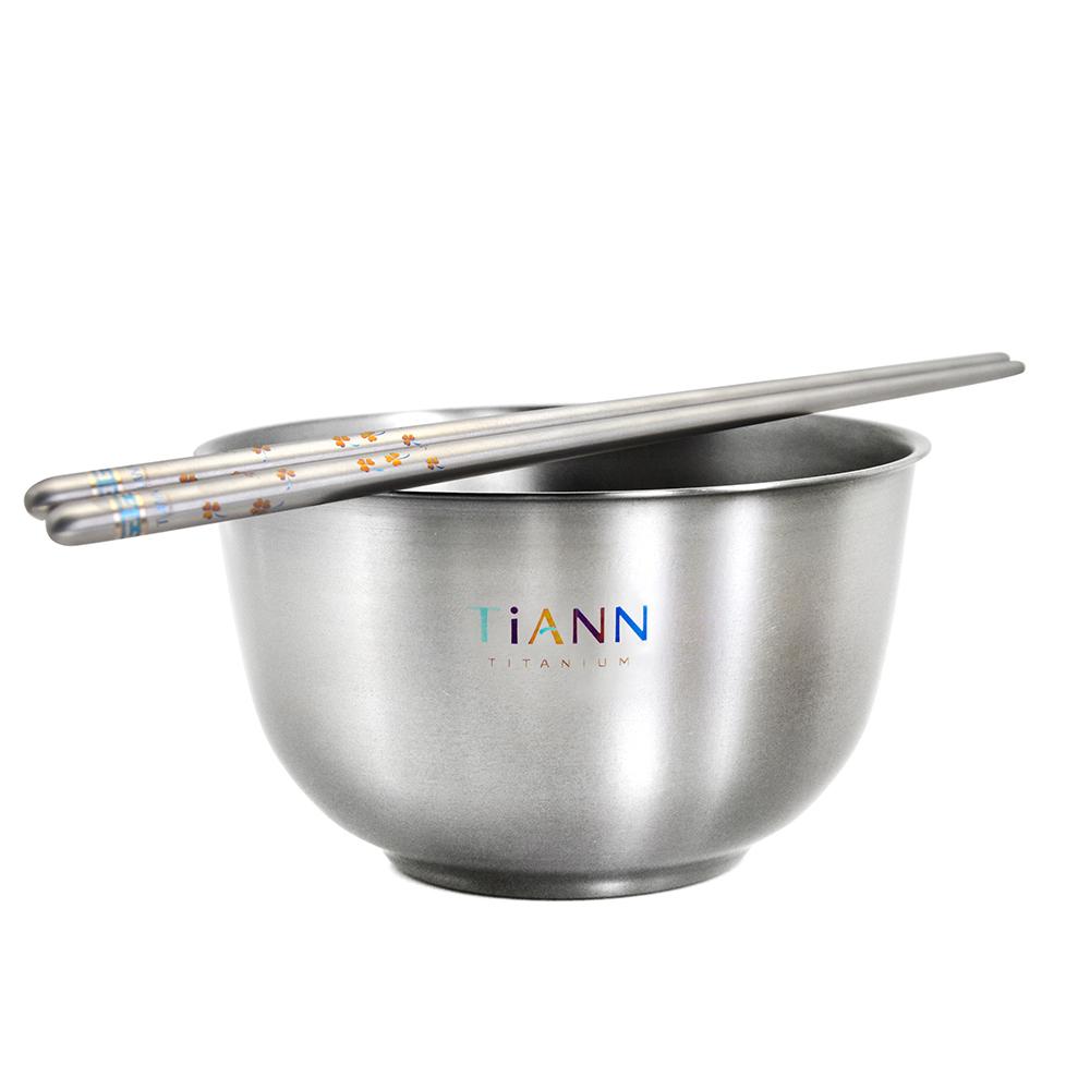 TiANN鈦安|純鈦雙層鈦碗筷組 (筷子花色任選)