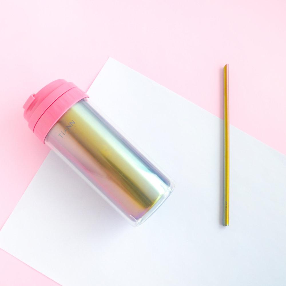 TiANN鈦安 純鈦隨行杯 550ml+素面斜口吸管套組(送水壺&杯蓋4色可選)