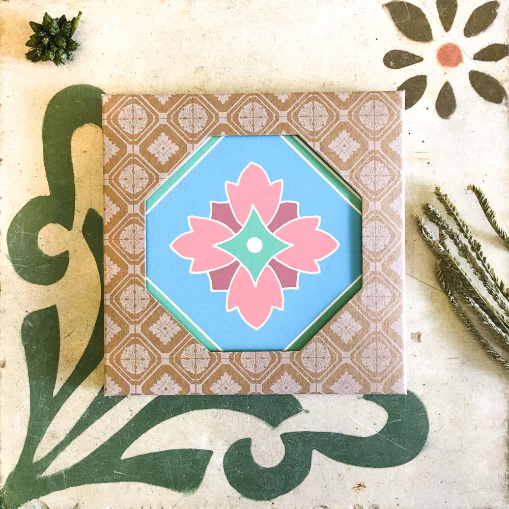 捲毛力卡|復古花磚吸水杯墊-四季陽春(藍)