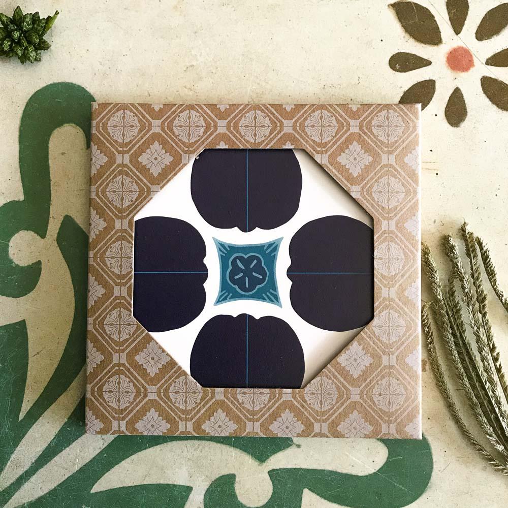 捲毛力卡QUEMOLICA|復古花磚吸水杯墊-深藍艾莉絲(藍)
