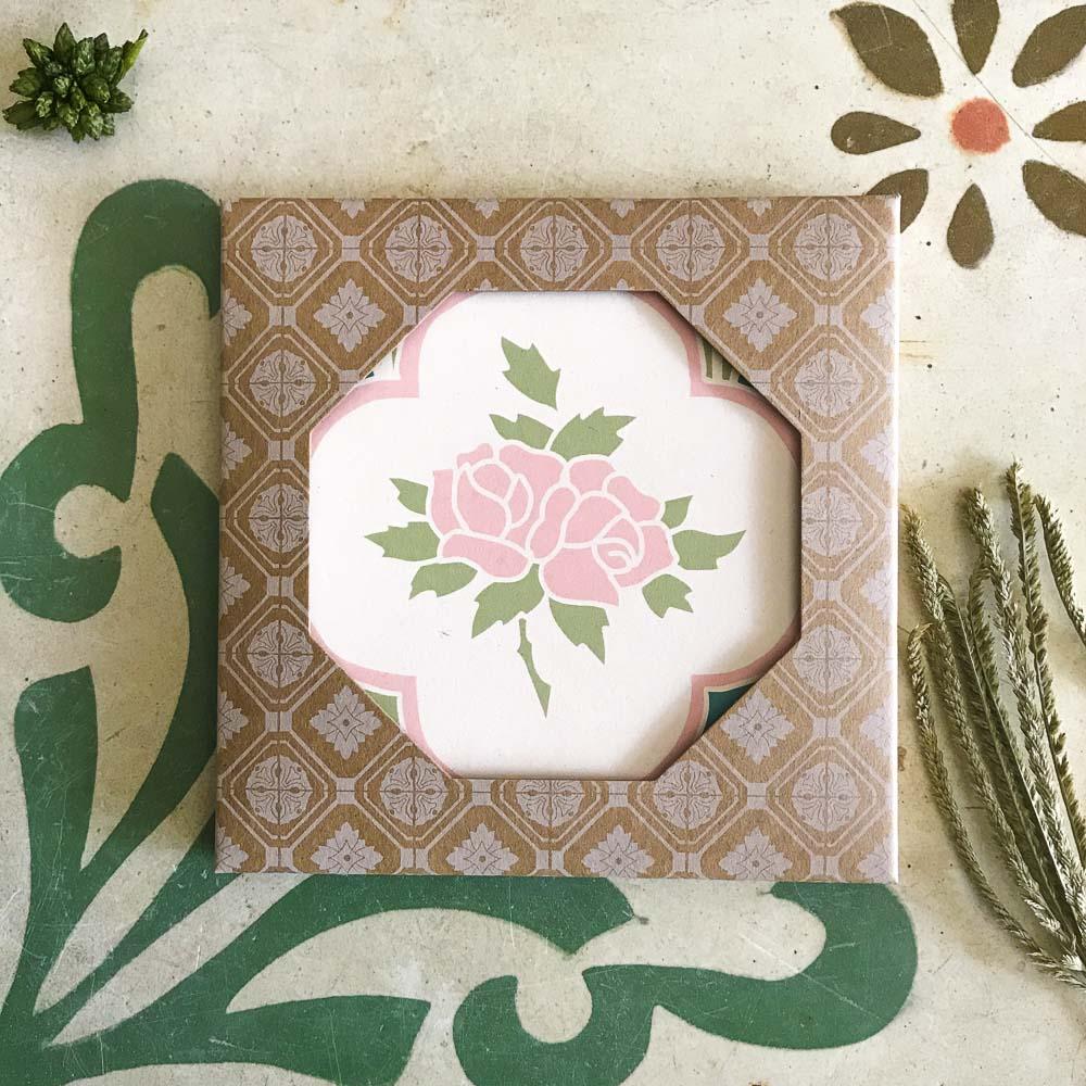 捲毛力卡QUEMOLICA|復古花磚吸水杯墊-森林玫瑰(水綠)