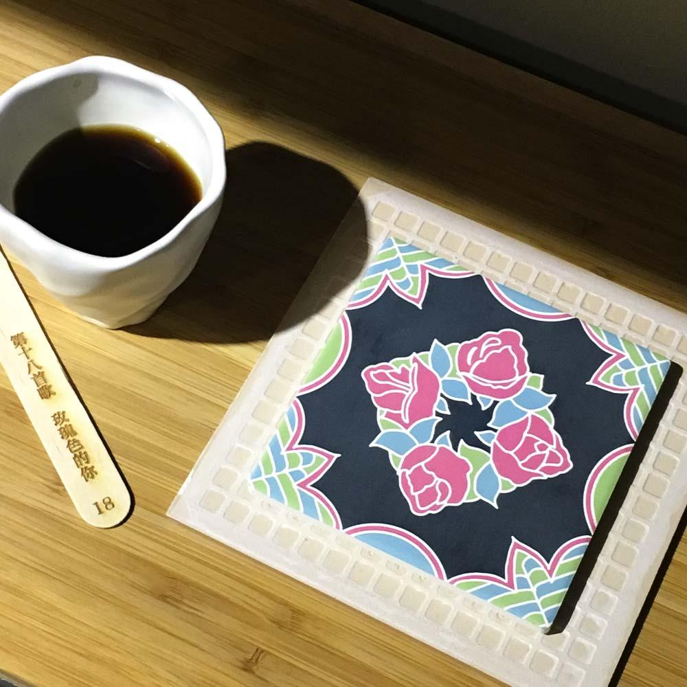 捲毛力卡QUEMOLICA|復古花磚吸水杯墊-玫瑰色的你(墨綠)