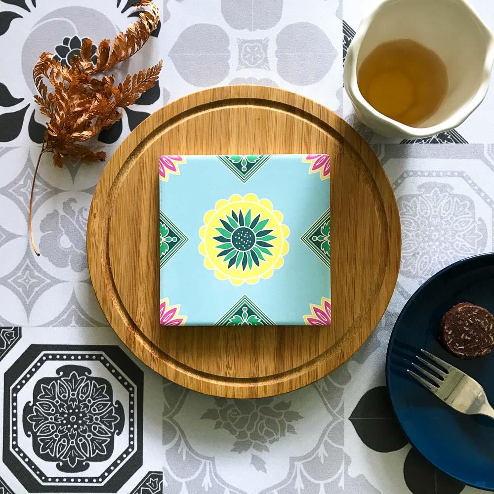 捲毛力卡QUEMOLICA|復古花磚吸水杯墊-吉慶滿堂花(粉藍)