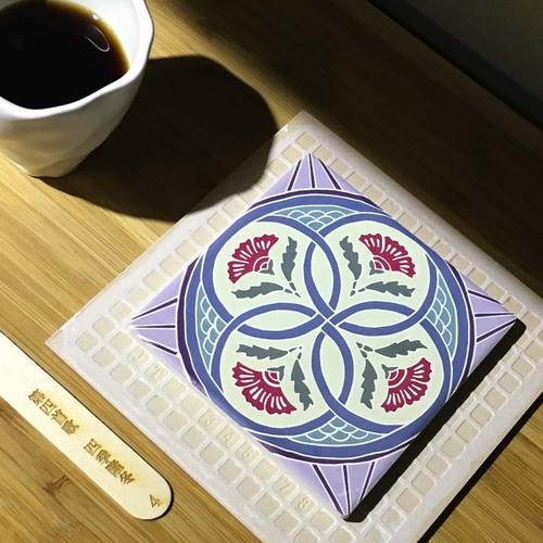 捲毛力卡QUEMOLICA|復古花磚吸水杯墊-四季隆冬(紫)
