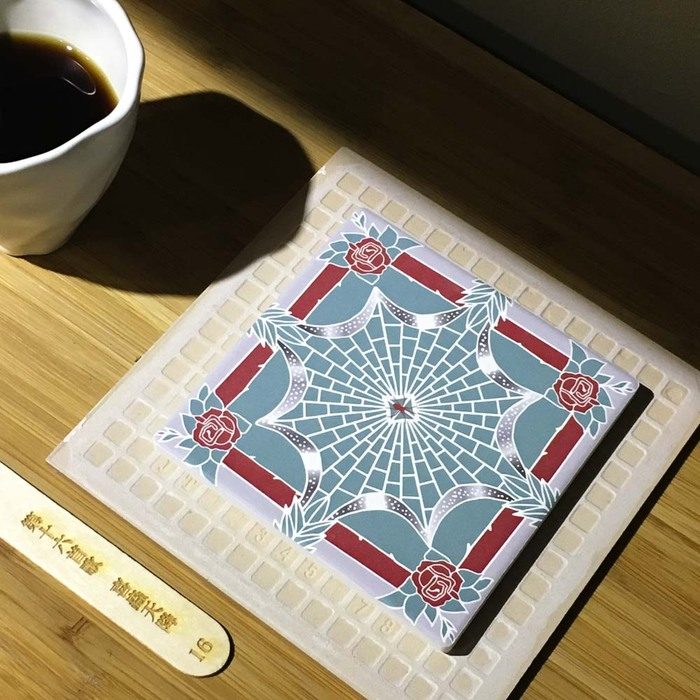 (複製)捲毛力卡QUEMOLICA|復古花磚吸水杯墊-喜蟲天降(金)