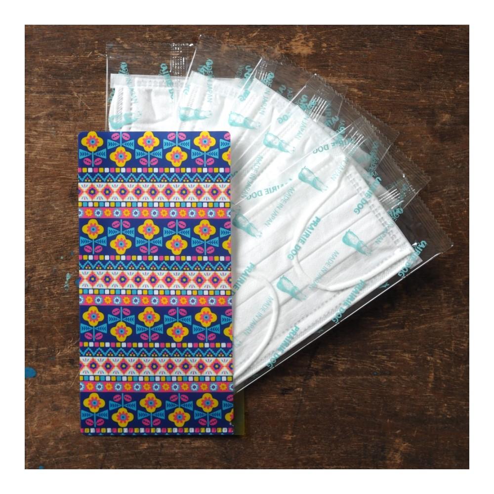 日本Prairie Dog 四層構造口罩5入組(附收納袋)-編織花紋