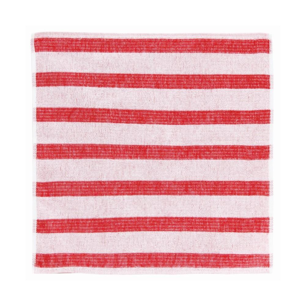 日本Prairie Dog|今治銀線製除臭方巾(橫紋)-紅