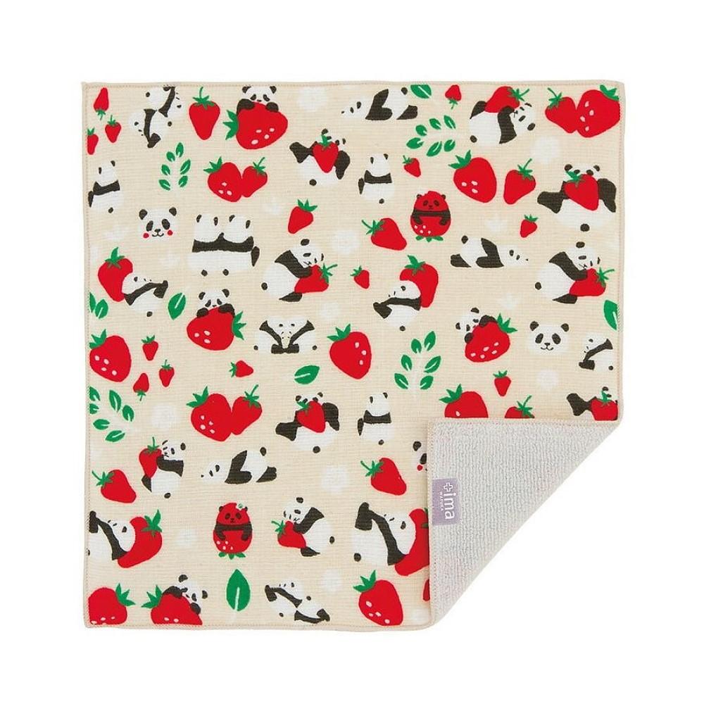 日本Prairie Dog 今治製有機優質純綿方巾-草莓與熊貓