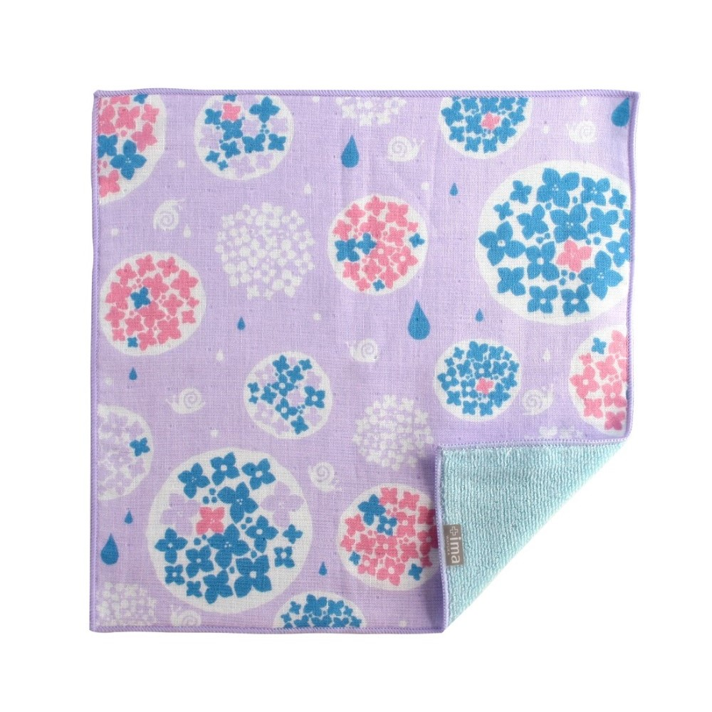 日本Prairie Dog|今治製有機優質純綿方巾-繡球花與蝸牛