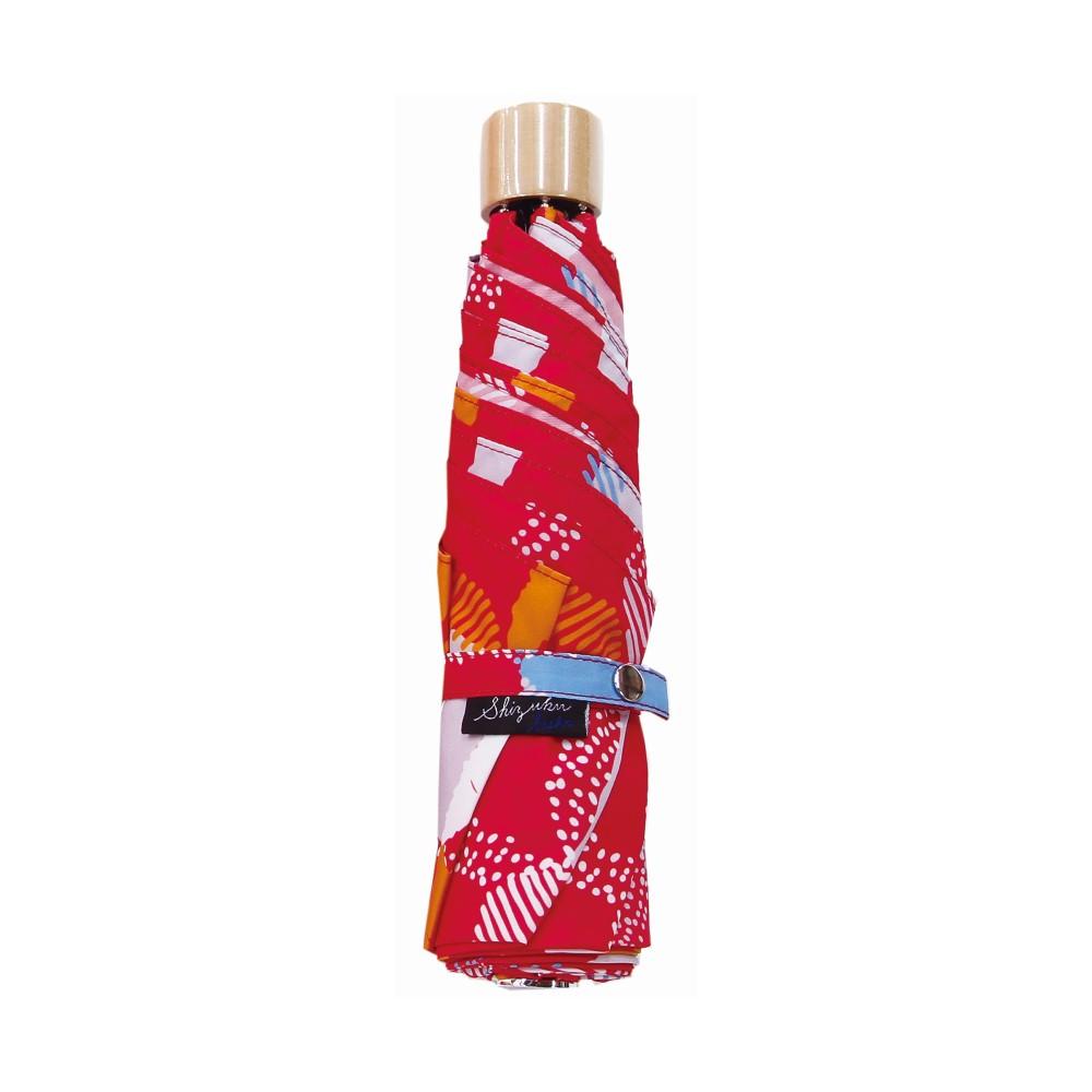 日本Prairie Dog|晴雨兩用抗UV摺疊收納傘+多功能收納傘袋-方格(粉)