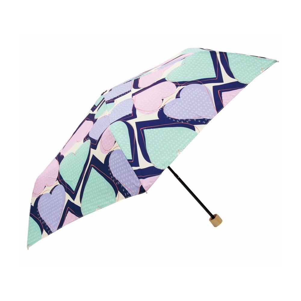 日本Prairie Dog|晴雨兩用抗UV摺疊收納傘+多功能收納傘袋-心形(藍綠)