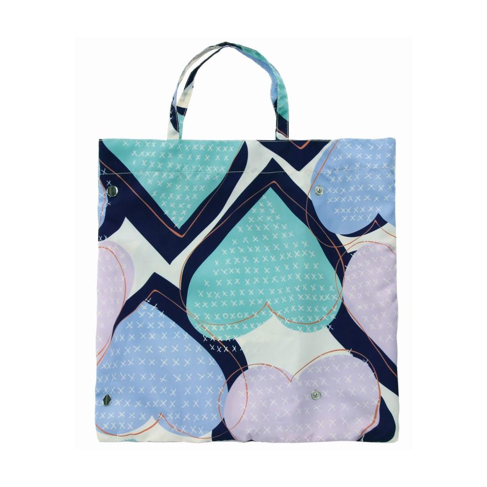 日本Prairie Dog 晴雨兩用抗UV摺疊收納傘+多功能收納傘袋-心形(藍綠)