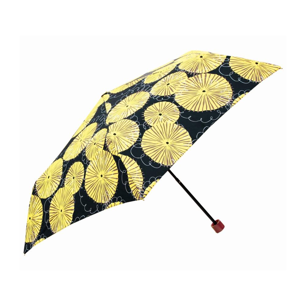 日本Prairie Dog 晴雨兩用抗UV摺疊收納傘+多功能收納傘袋-蒲公英(黑)