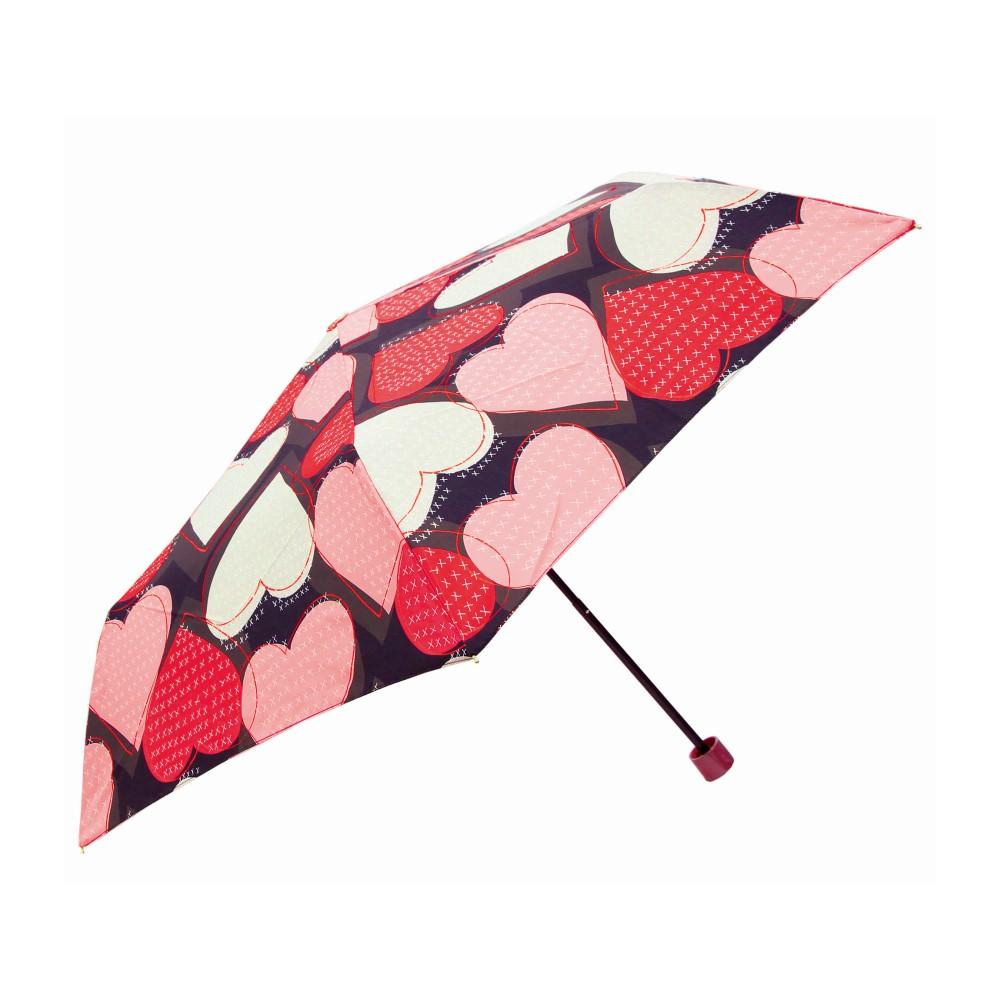 日本Prairie Dog|晴雨兩用抗UV摺疊收納傘+多功能收納傘袋-心形(黑)