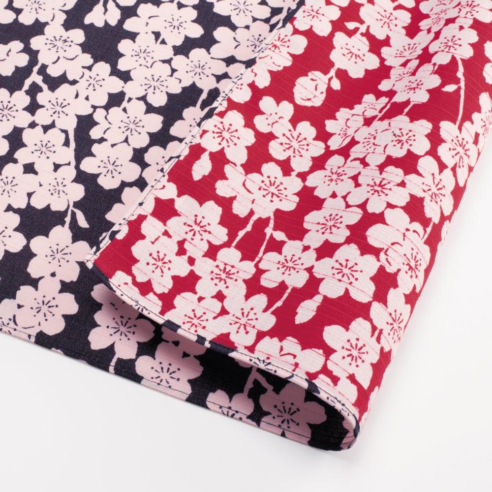 日本Prairie Dog|伊砂文樣兩面風呂敷/便當巾-垂枝櫻花(深藍/紅)