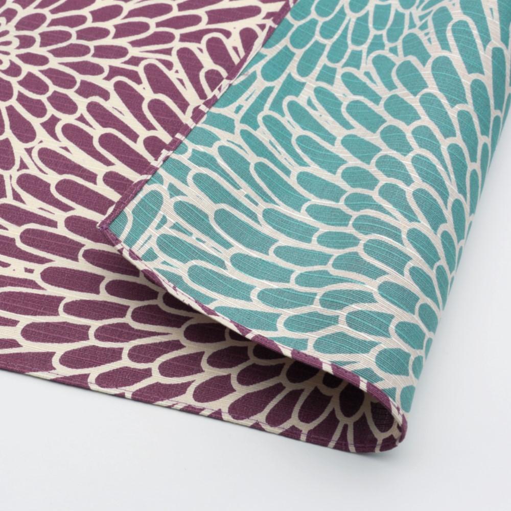 日本Prairie Dog|伊砂文樣兩面風呂敷/便當巾-菊紋(紫/青綠)