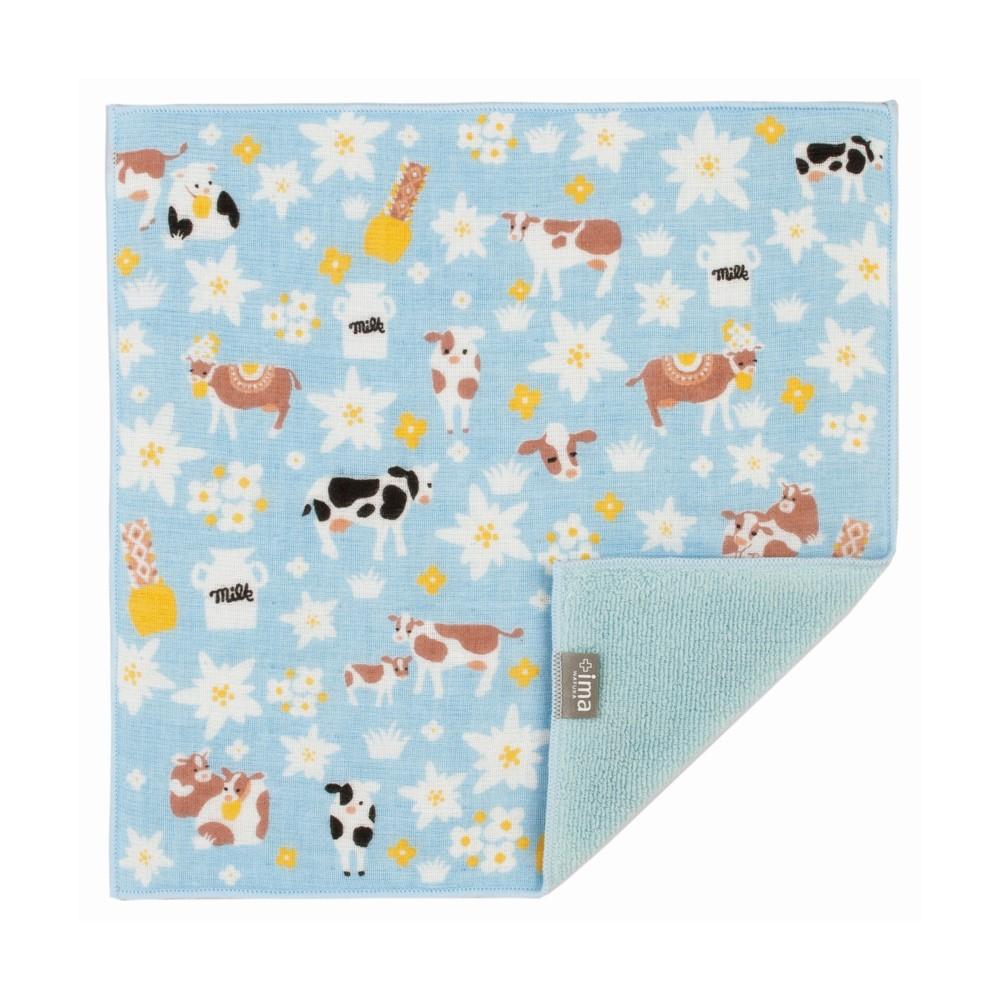 日本Prairie Dog|今治製有機優質純綿方巾-雪絨花與乳牛