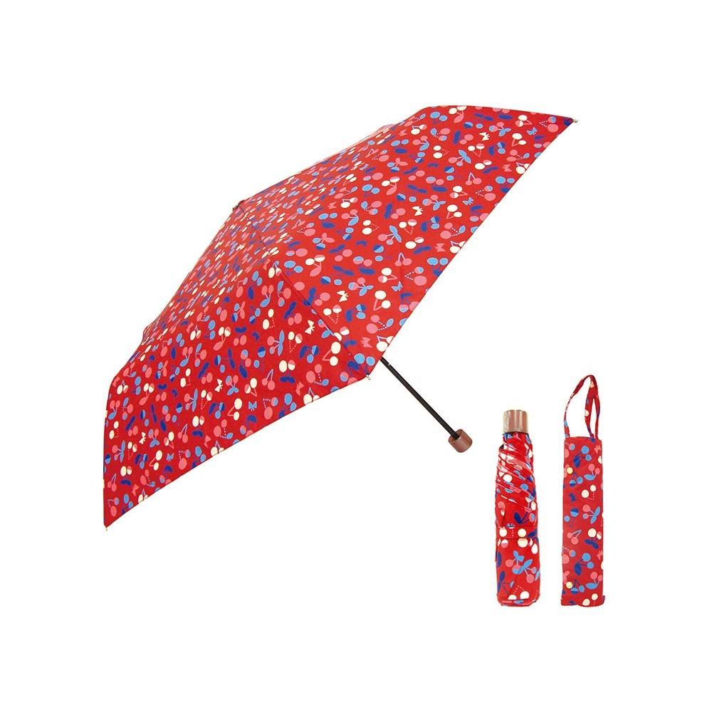 日本Prairie Dog 晴雨兩用抗UV摺疊收納傘+多功能收納傘袋-櫻桃紅
