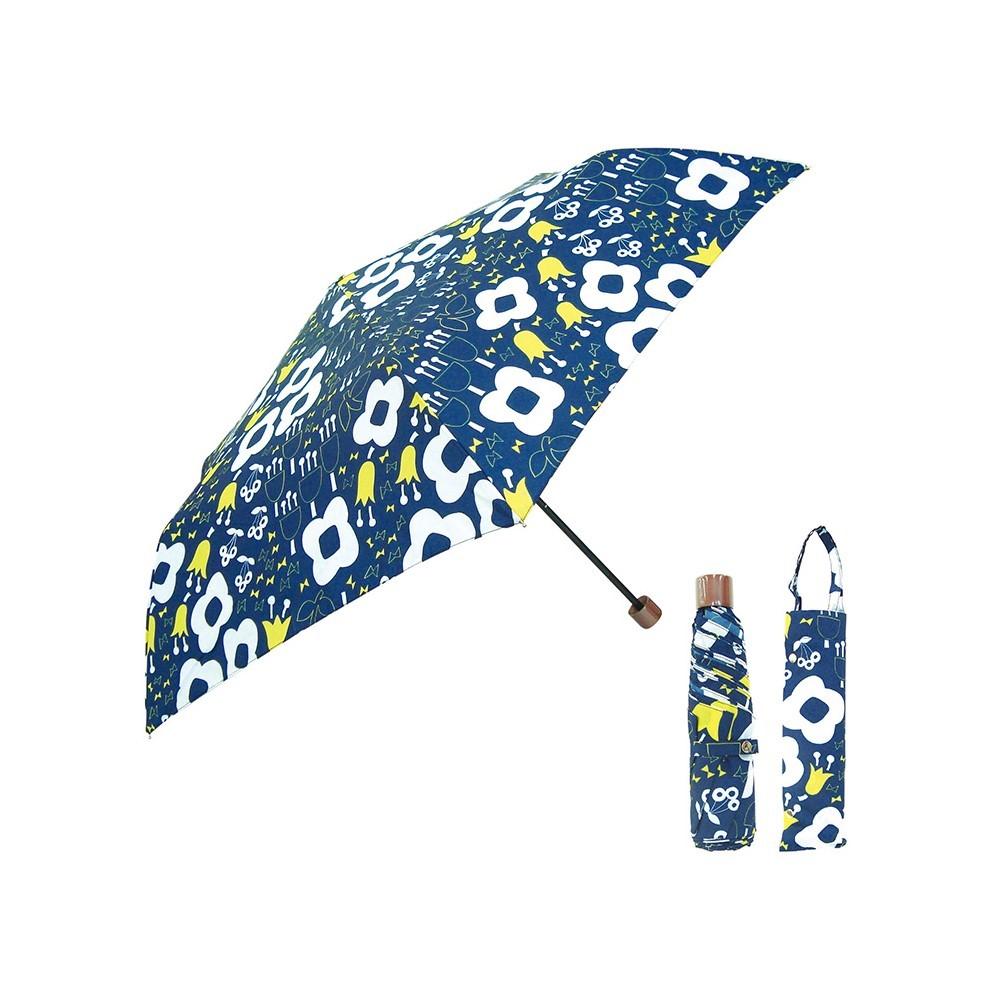 日本Prairie Dog 晴雨兩用抗UV摺疊收納傘+多功能收納傘袋-深藍花園