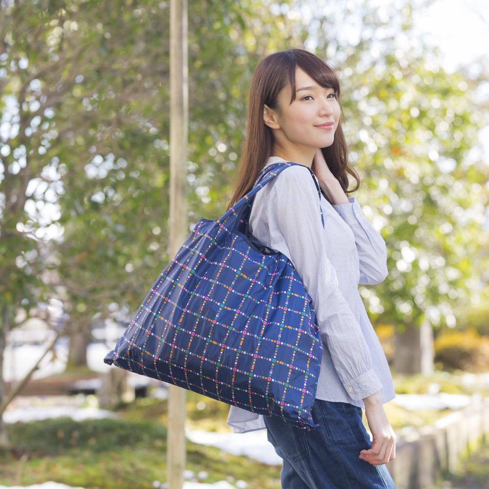 日本Prairie Dog|2Way 隨身收納環保購物袋-深海藍