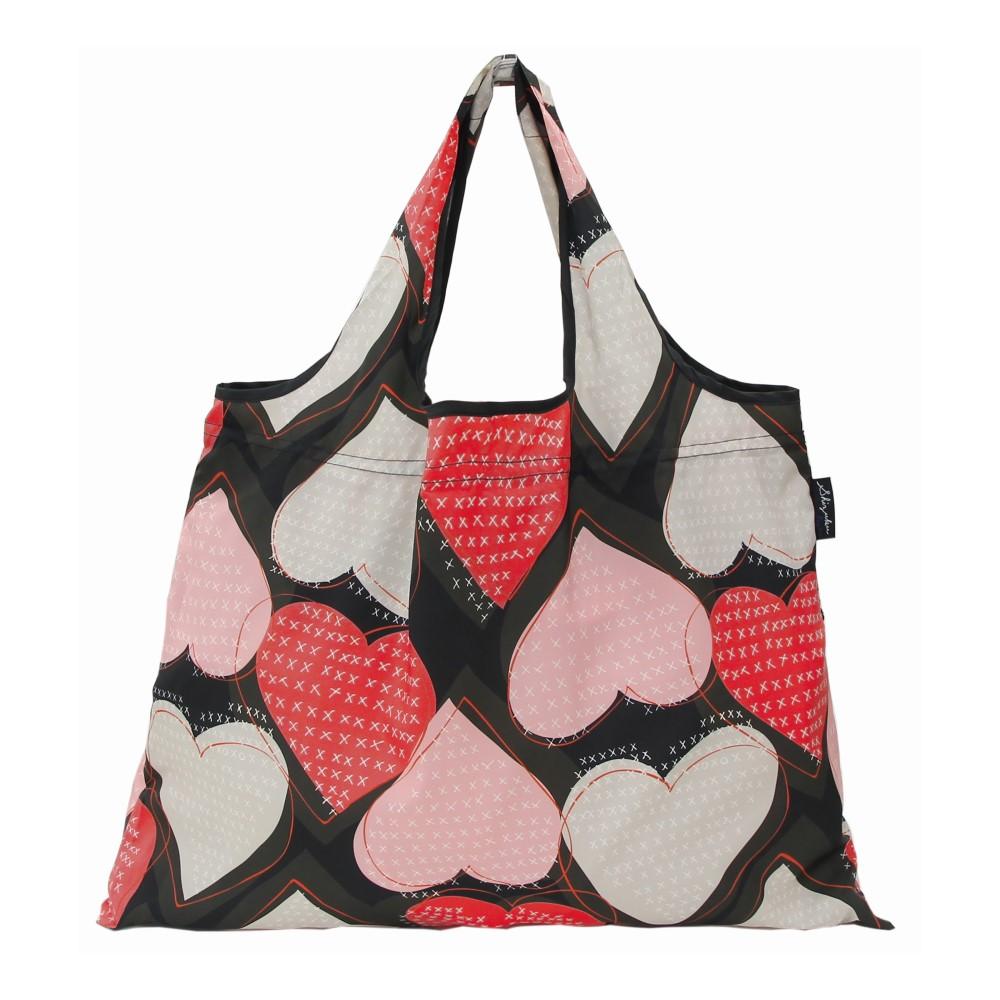日本Prairie Dog 2Way 隨身收納環保購物袋-心形(黑)