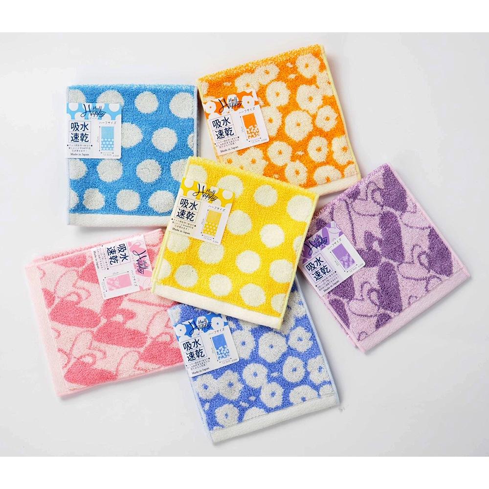 日本Prairie Dog 今治吸水速乾長方巾-藍色點點