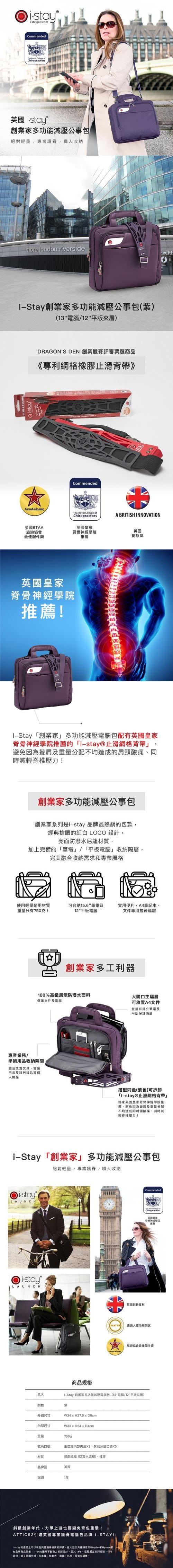 (複製)i-stay|創業家多功能減壓電腦包 (紫色) - (13.6電腦/12平版夾層)