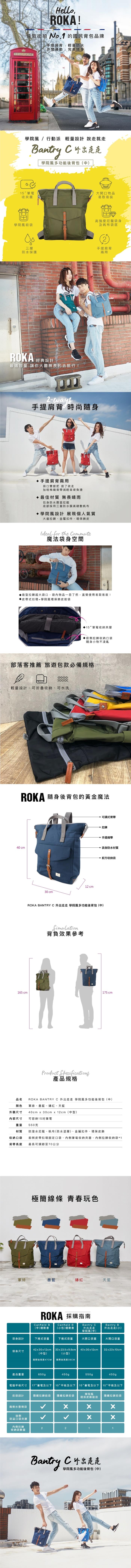 ROKA LONDON|『出外走走』學院風兩用後背包(中) 磚紅