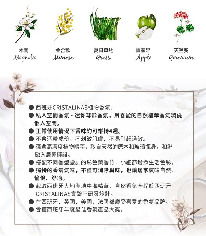 Cristalinas迷你球形植萃香氛(20ML)- 清新草香