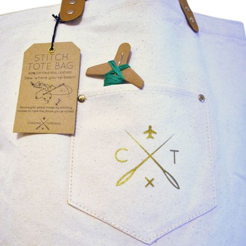 Chasing Threads|個人化 帆布地圖托特包 (帆布原色)