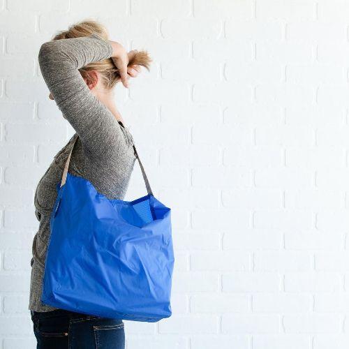 JULY NINE|可收納式時尚托特包 (肩背單色版) 寶藍
