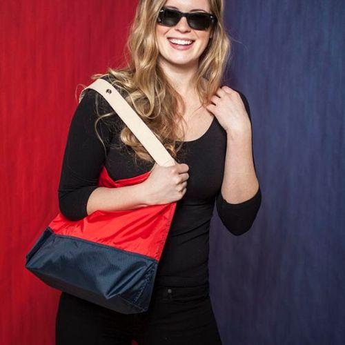 JULY NINE 可收納式時尚托特包 (肩背雙色版) 正紅/深藍