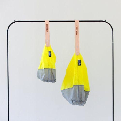 JULY NINE|可收納式時尚托特包 (肩背雙色版) 亮黃/灰