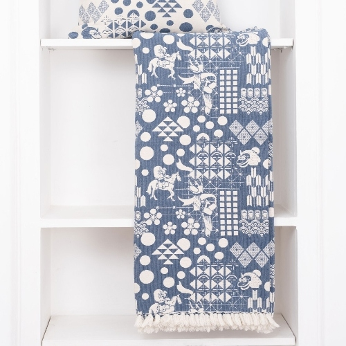 SAFOMASI   日式慶典純綿提花織毯 (藍色)
