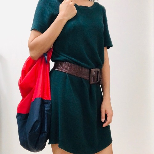 JULY NINE (大) 可收納式時尚托特包 (肩背雙色版) 正紅/深藍
