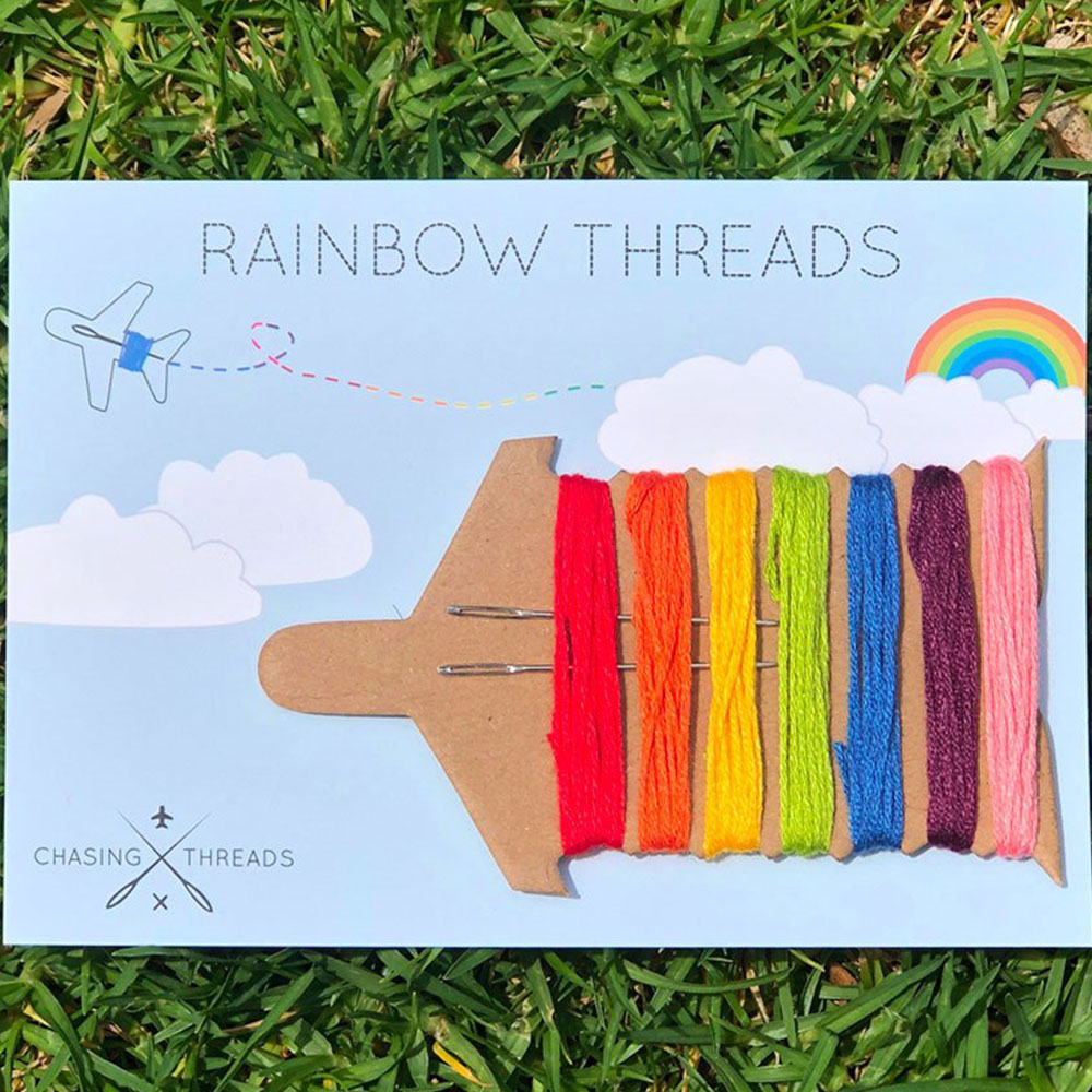 Chasing Threads|個人化 帆布地圖托特包 (海軍藍) + 精彩旅程彩虹繡線