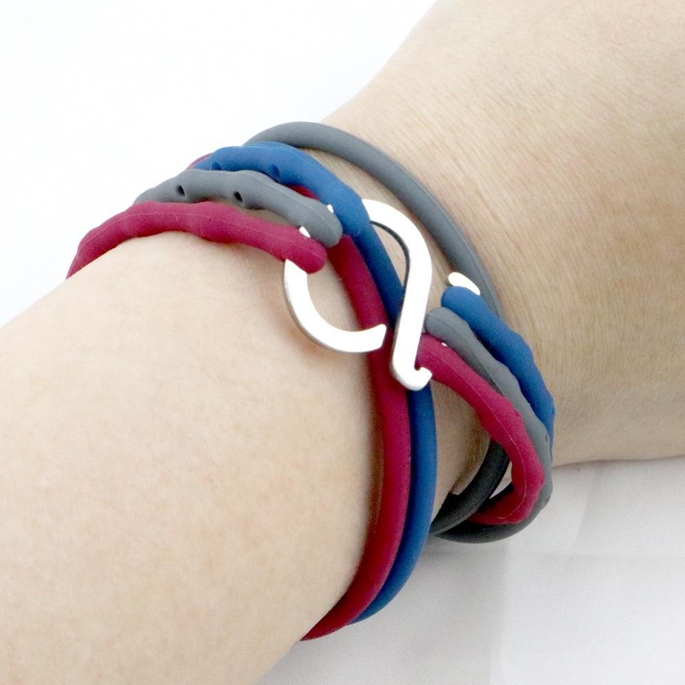 Brappz|瑞士百變運動手環(撞色-藍、灰、暗紅三色組)