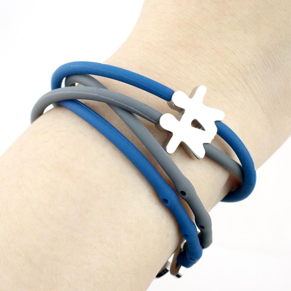 Brappz|瑞士百變運動手環撞色對組 (藍灰公益組)