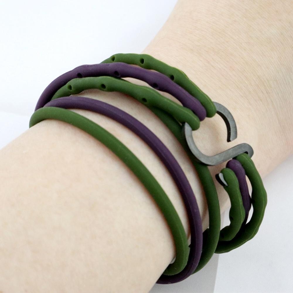 Brappz|瑞士百變運動手環(墨綠|暗紫撞色對組)