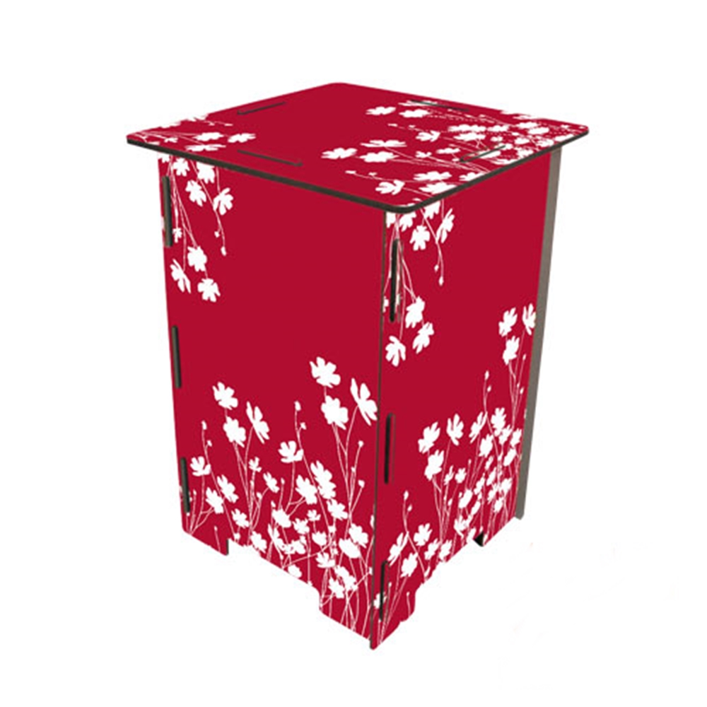 Werkhaus|彩印經典木凳儲物組(紅底白花)