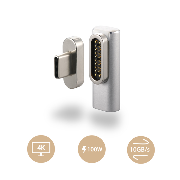OneMore|iEasy USB-C L型磁吸轉接頭 L-Shape Magnetic Adapter(銀色)