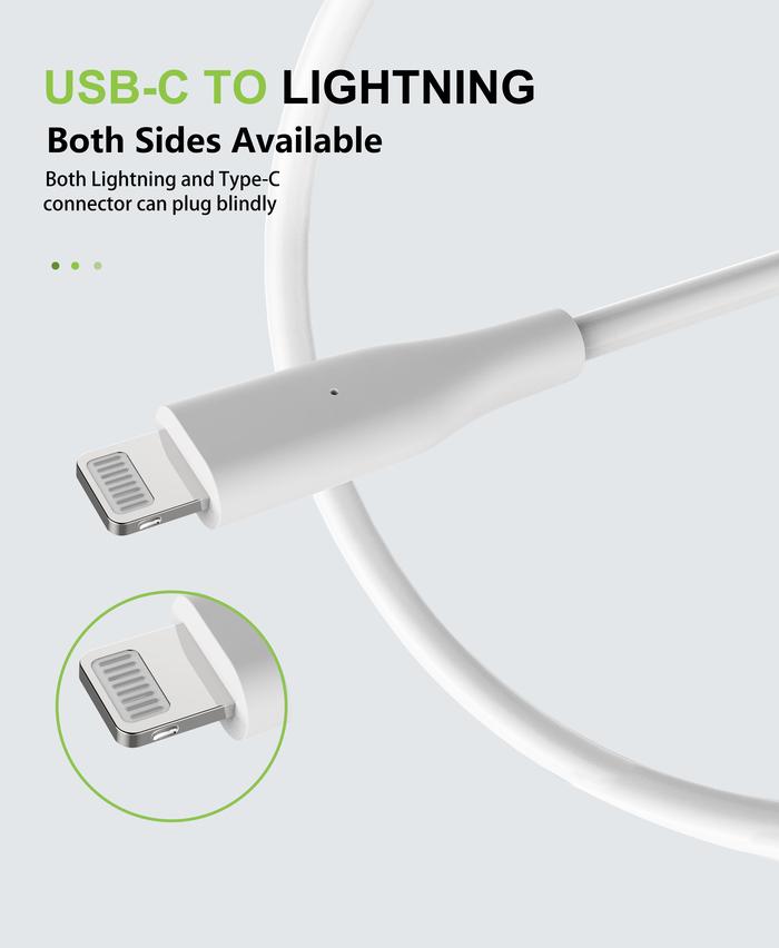 Allite 1.5米USB-C to Lightning 液態矽膠快充線 - 白