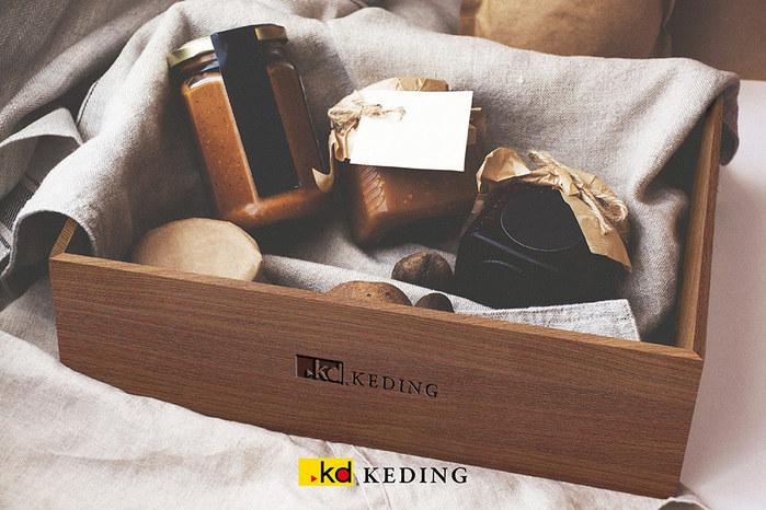 KD科定|實木盒胡桃木款_領帶收納盒 乾燥花木盆 香水收納盒 文書工具盒 A4紙木盒