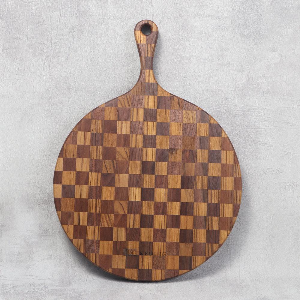 KD科定|文創小品_木餐盤_大_圓型格子款深棕色_砧板、麵包盤、起司盤