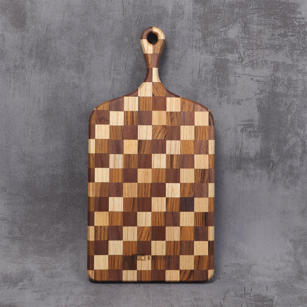 KD科定|文創小品_木餐盤_小_長型格子款米棕色_砧板、麵包盤、起司盤