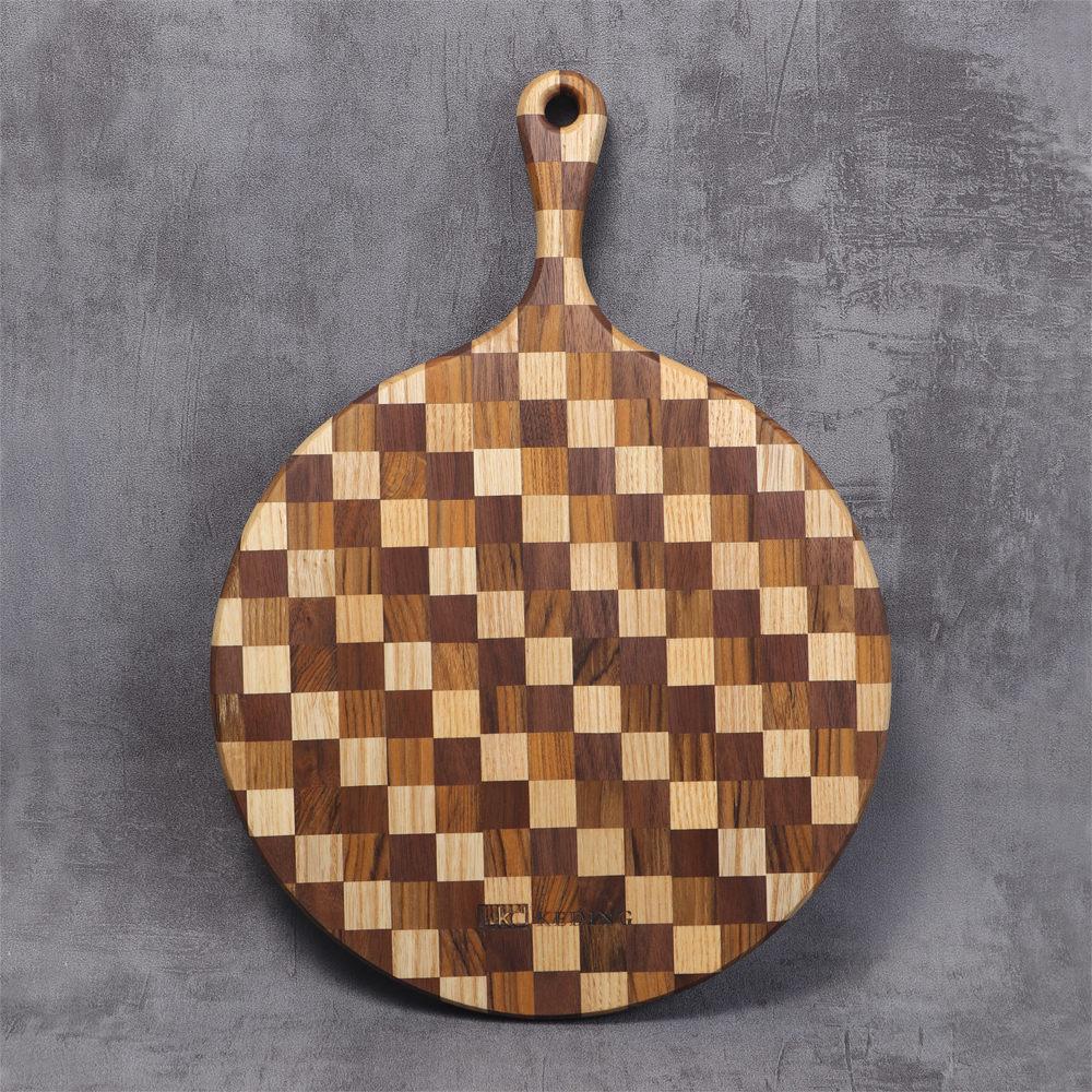 KD科定|文創小品_木餐盤_大_圓型格子款米棕色_砧板、麵包盤、起司盤