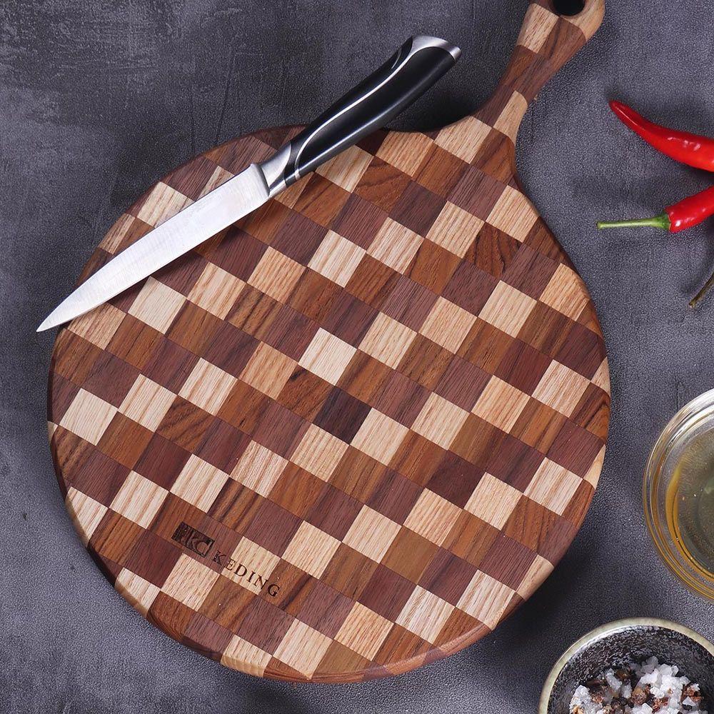 KD科定 文創小品_木餐盤_小_圓型格子款米棕色_砧板、麵包盤、起司盤