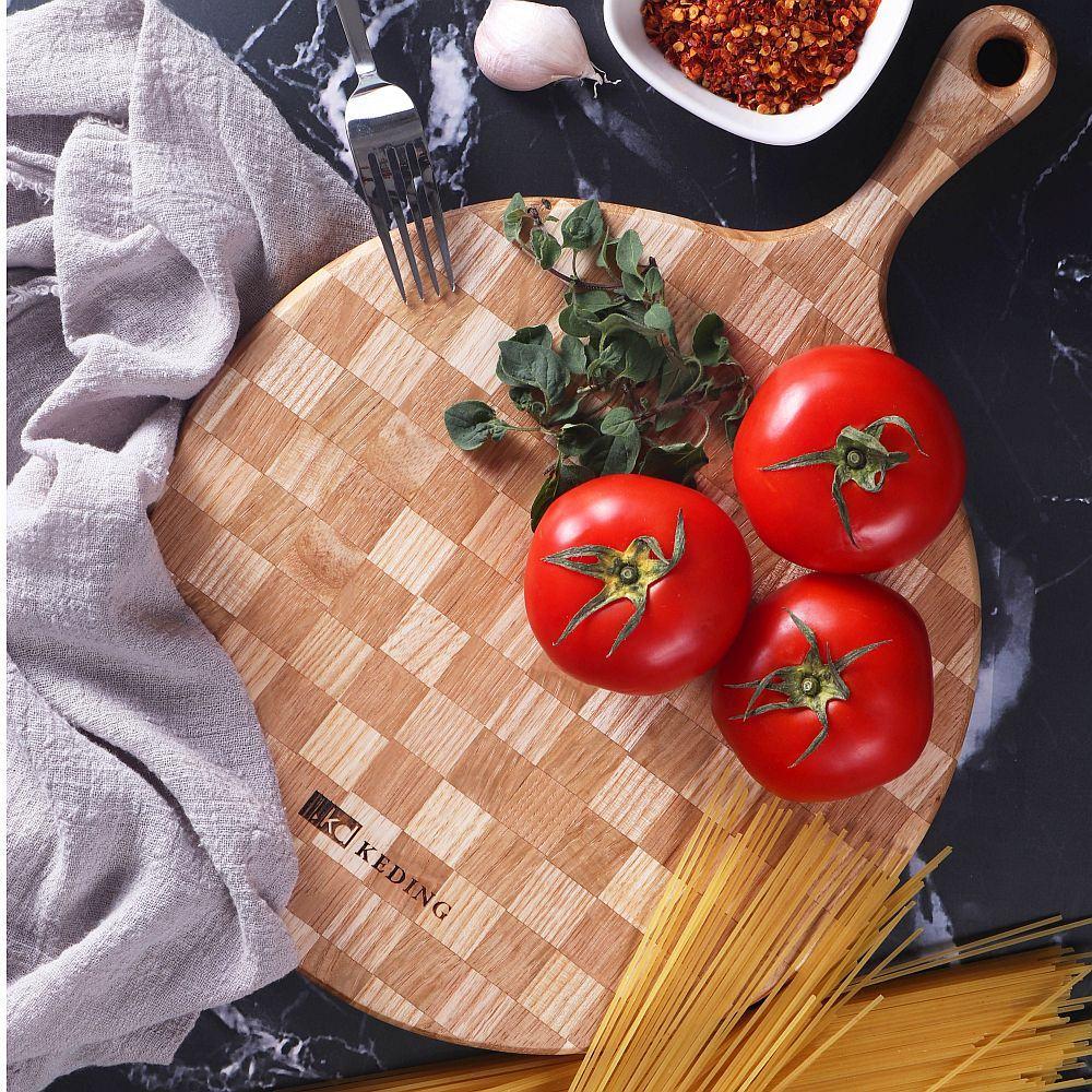 KD科定|文創小品_木餐盤_小_圓型格子款奶茶色_砧板、麵包盤、起司盤