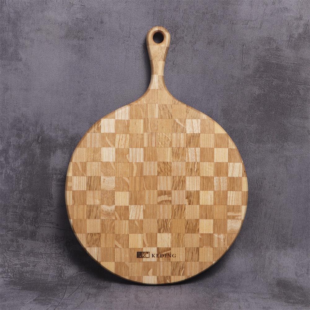 KD科定 文創小品_木餐盤_小_圓型格子款奶茶色_砧板、麵包盤、起司盤