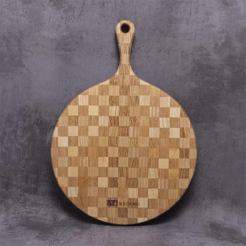 KD科定|文創小品_木餐盤_大_圓型格子款奶茶色_砧板、麵包盤、起司盤